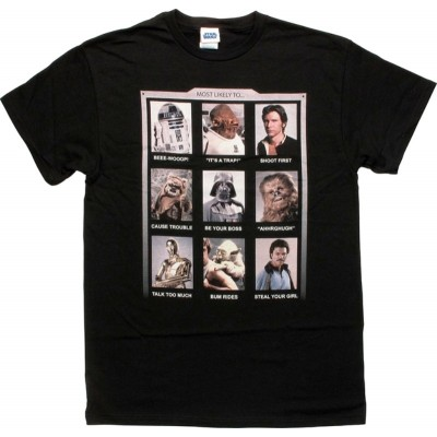 T-Shirt Star Wars Most Likely To annuary photo collage maglia Uomo