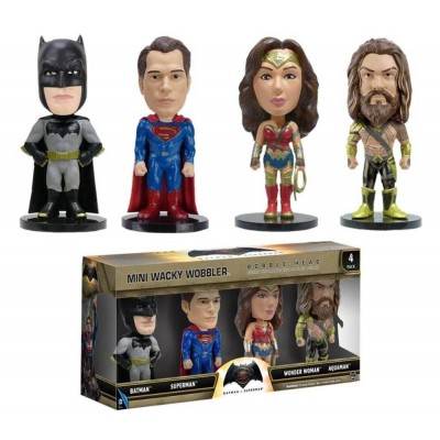 Set 4 Mini Bobble-Head Batman v Superman DC Comics Wacky Wobbler Funko