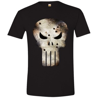 T-shirt The Punisher Battle Damaged Skull Marvel maglia Uomo