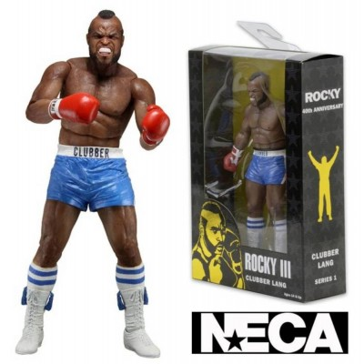 Action Figure Clubber Lang blue trunks 40th Anni. Rocky III Neca