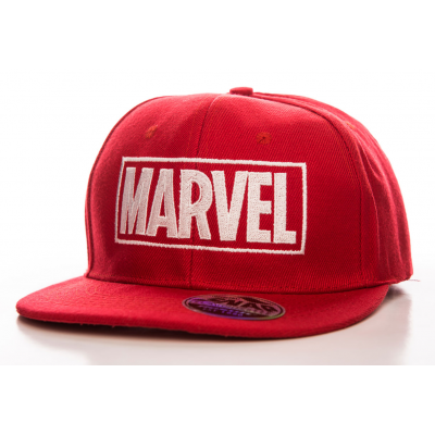 Marvel Red Logo Embroidered official Snapback Cap Hat Red
