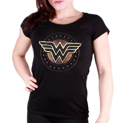 T-shirt Wonder Woman - W Logo Studs Maglia Donna DC Comics