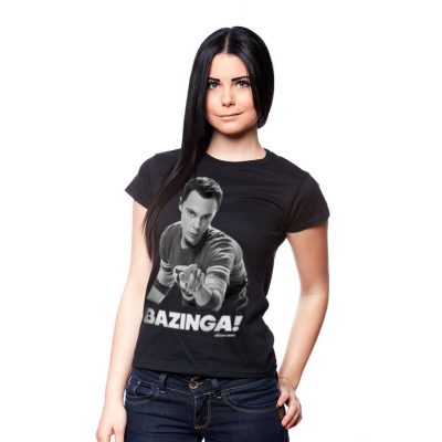 T-shirt Big Bang Theory Bazinga ! Sheldon Cooper black maglia donna ufficiale by Hybris