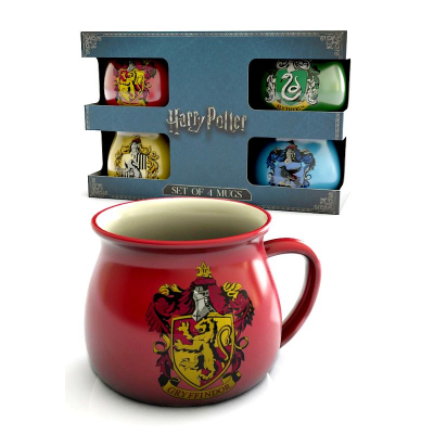 Set 4 Tazze Harry Potter Hogwarts houses multicolor cauldron Mug