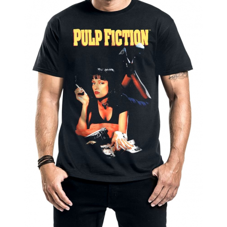 T-shirt Pulp Fiction Poster Mia Smoking Stance men
