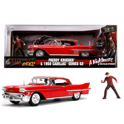 Modellino Nightmare Freddy Krueger with 1958 Cadillac Metals Die cast