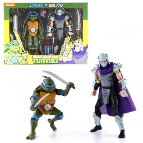 Action Figure TMNT Teenage Mutant Ninja Turtles Leonardo vs. Shredder Neca