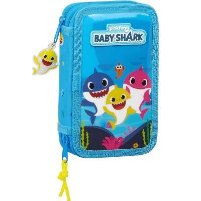 Astuccio Baby Shark 2 cerniere filled double pencil case 28pcs Safta