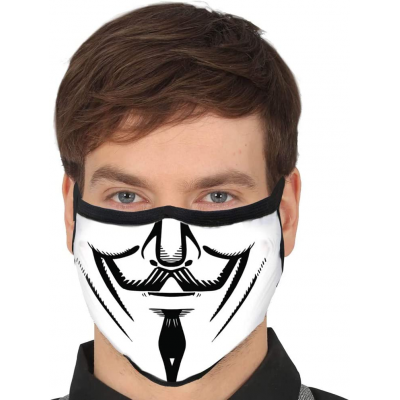 Mascherina Halloween V per Vendetta Unity mouth reusable mask 3 layers