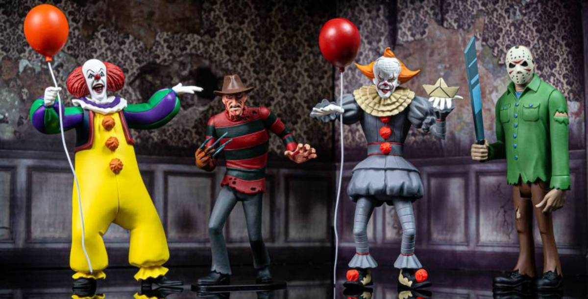 Action figure set 4 Toony Terrors Freddy Pennywise 1990 2017 15 cm Neca Jason